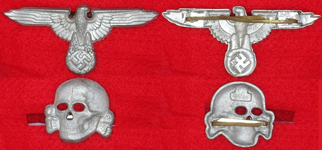 WWII German SS cap set, skull and eagle RZM marked (958)