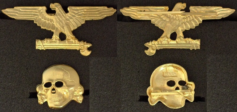Italian SS gold eagle and skull cap set RZM M1/52 (783)