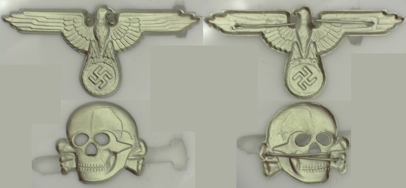 WWII German SS cap set, skull and eagle die struck