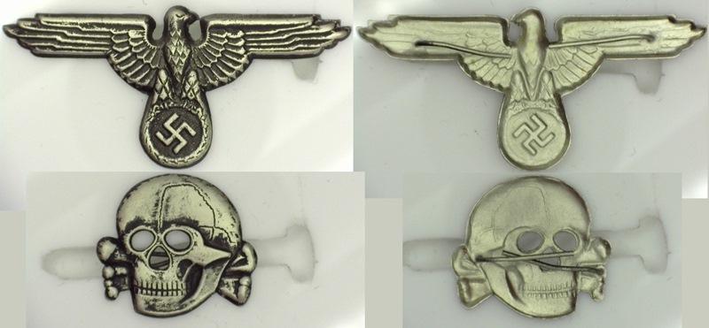 WWII German SS cap set aged, skull & eagle die struck
