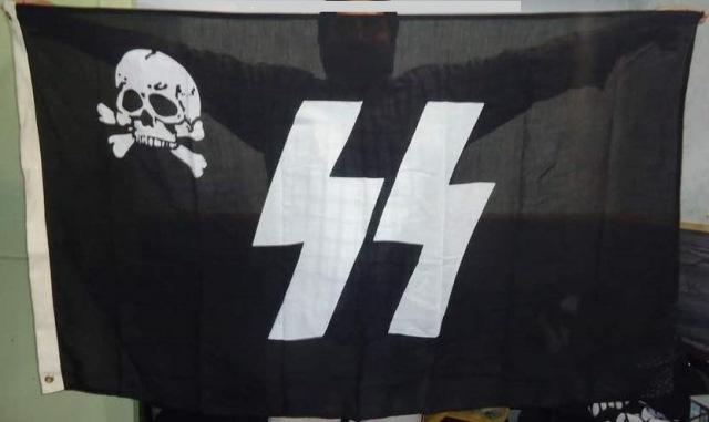 German Waffen SS Totenkopf runic battle flag